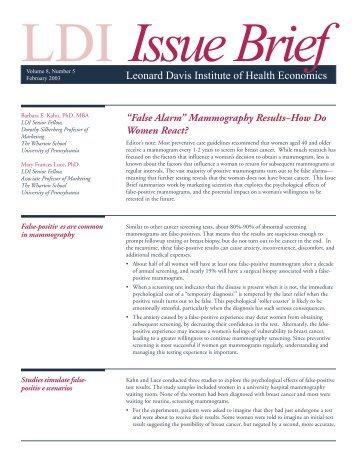 """False Alarm"" Mammography Results - How Do Women React?"