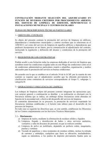 PLIEGO DE PRESCRIPCIONES TECNICAS (Version Castellano)