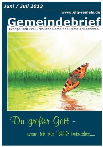 Gemeindebrief Juni / Juli 2013 - Evangelisch-Freikirchliche ...