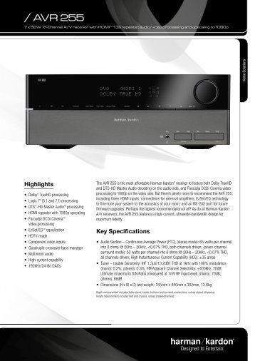 Specification Sheet - AVR 255 (English EU) - Harman Kardon