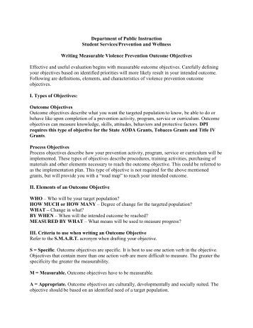 Violence Prevention Outcome Objectives - Student Services ...