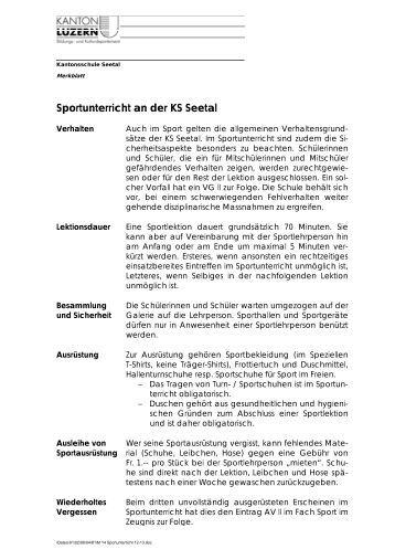 Sportunterricht an der KS Seetal - Kantonsschule Seetal