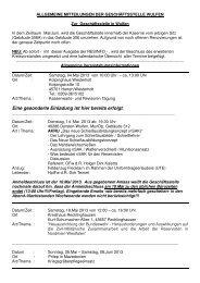Mitteilungen der Geschäftsstelle Wulfen Mai - Aug 2013