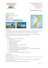 Highlights Tour - Experience New Zealand Travel
