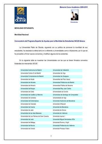 Memoria Curso Académico 2009-2010 MOVILIDAD ESTUDIANTIL ...