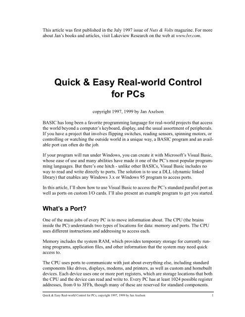 Quick & Easy Real-world Control for PCs - Jan Axelson's