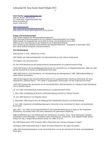 lebenslauf dr irene suchy stand frhjahr 2012 1