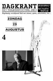 ZONDAG 29 AUGUSTUS - Het Theaterfestival
