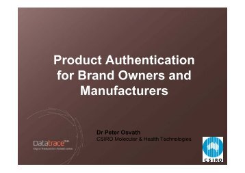 Product Authentication for Brand Owners and Manufacturers Dr ...