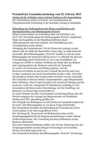 Protokoll der Gemeinderatssitzung vom 25. Februar 2013