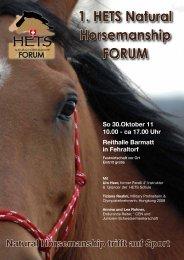 1. HETS Natural Horsemanship FORUM - bei swissendurance.ch!