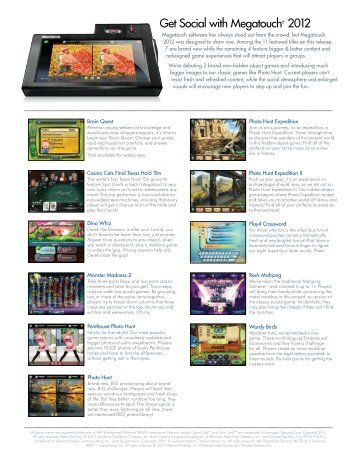 Megatouch 2012 Software Brochure - BMI Gaming