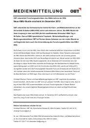 OBT unterstützt Forschungsaktivitäten des KMU-Instituts der HSG ...