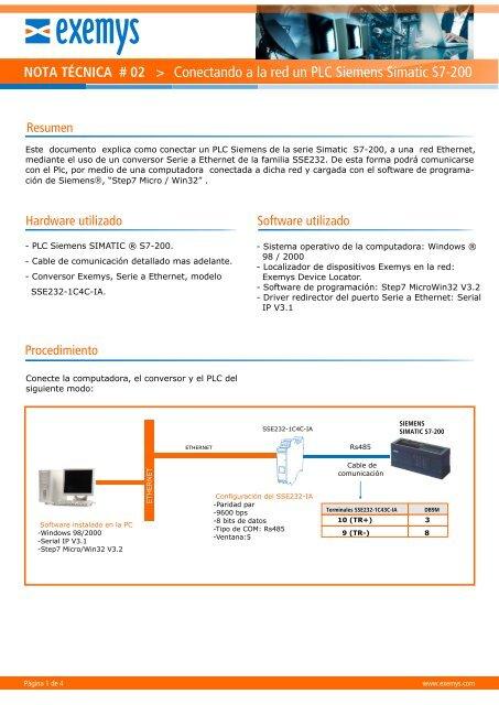 Conectando a la red un PLC Siemens Simatic S7-200 - Exemys