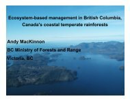 Ecosystem-based management in British Columbia, Canada's ...