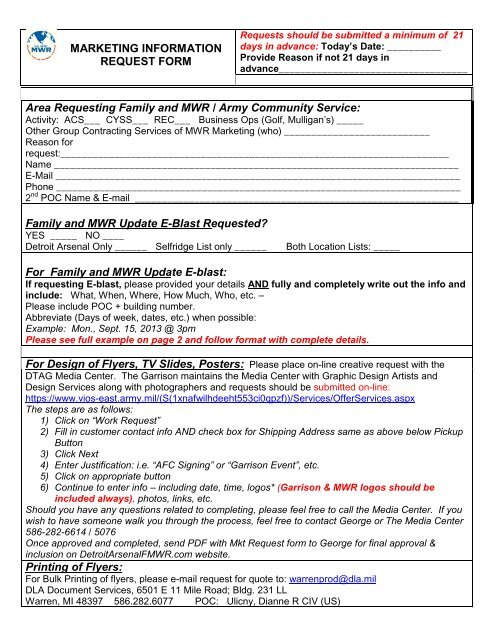 Marketing Request Form - Morale, Welfare & Recreation Home Page