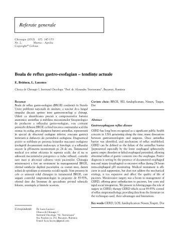 Boala de reflux gastro-esofagian – tendinte actuale - Chirurgia