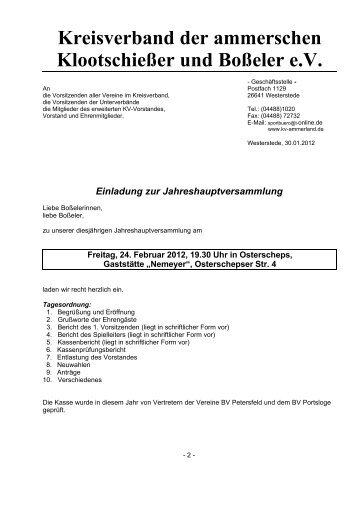 Berichtigte Einladung - KV Ammerland