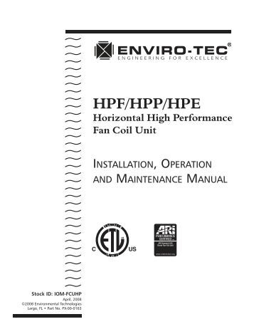 Vertical Hi Rise Fan Coil Unit Model Fs Technical Bulletin