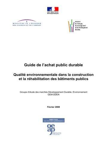 Guide de l'achat public durable - Administration éco-responsable