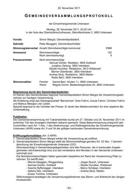 Gemeindeversammlung vom 28. November 2011 - Unterseen