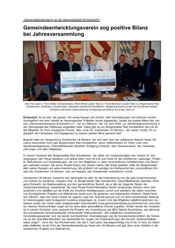 Gemeindeentwicklungsverein zog positive Bilanz ... - Markt Eichendorf