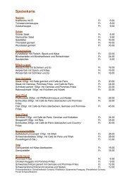 Speise- & Weinkarte Restaurant zur Ranch in Worben