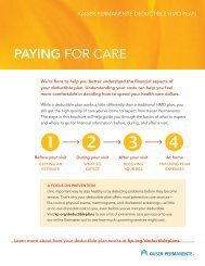 Paying for Care brochure - Kaiser Permanente Community Benefit