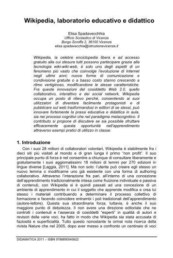 Wikipedia, laboratorio educativo e didattico - DIDAMATICA 2011 ...