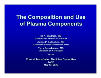 The Composition and Use of Plasma Components - the UCLA ...