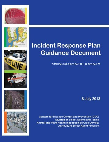 Incident Response Plan Guidance Document - Select Agent Program