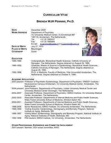 curriculum vitae brenda wjh penninx, ph.d. - EMGO