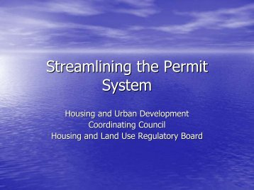 Streamling the Permit System (HUDCC, HLURB). - LGRC DILG 10