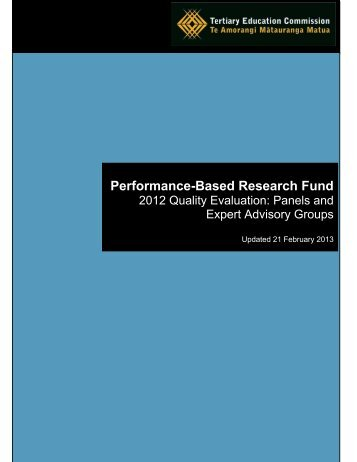Performance-Based Research Fund - 2012 Quality Evaluation ...