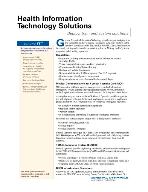 Health IT Solutions - General Dynamics Information Technology