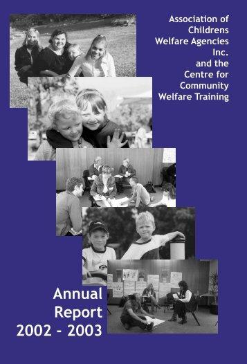 2002/2003 ACWA Annual Report - Association of Children's Welfare ...