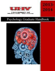 Graduate Psychology Program Handbook 2013-2014 - University of ...