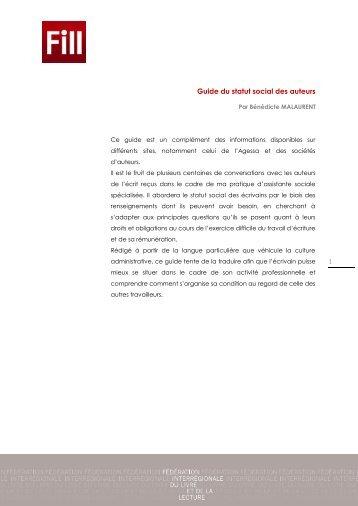 Guide du statut social des auteurs - Centre Régional des Lettres de ...