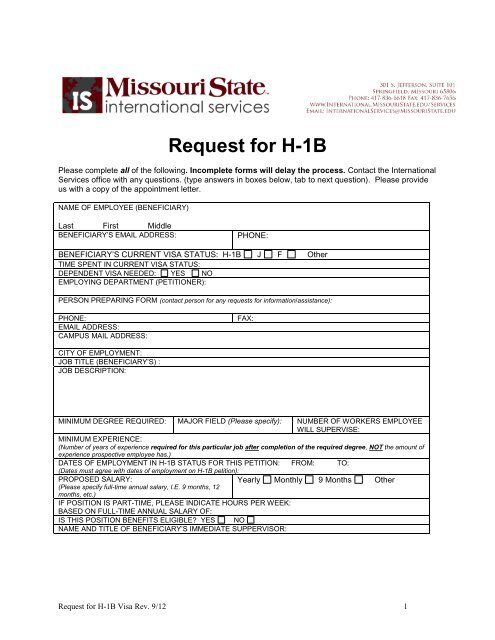 H1B Request Form - Missouri State University on social security ssi application form, social security card application form, ss retirement application form,