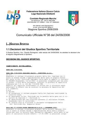Comunicato Ufficiale N°38 del 24/09/2008 - Vivere Senigallia