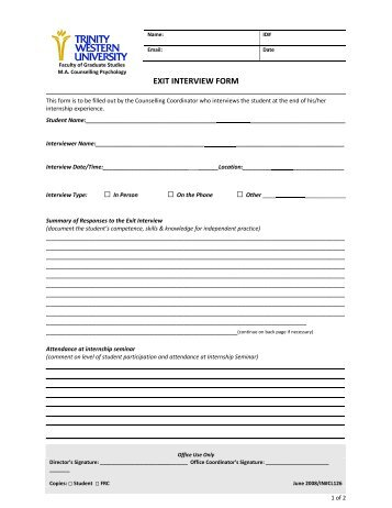 Exit Interview Form. Exit Interview Form Interview Form 12 ...