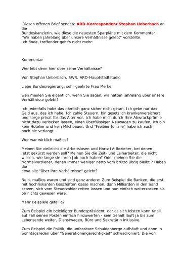 Diesen offenen Brief sendete ARD-Korrespondent Stephan ...
