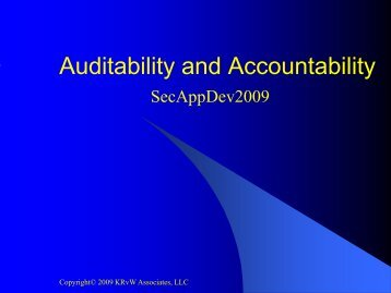 Auditability and Accountability - Secure Application Development