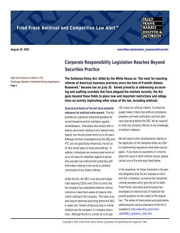 Corporate Responsibility Legislation Reaches Beyond ... - Fried Frank