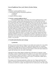 General Equilibrium Theory and Collective Decision Making Outline ...