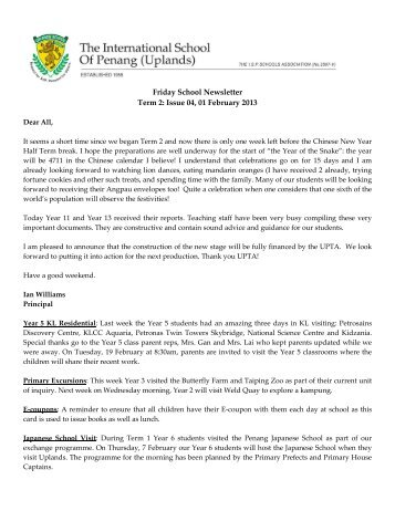 Friday School Newsletter Term 2: Issue 04, 01 February 2013 - The ...
