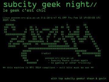 Subcity Geek Night Presentation - Subcity Radio