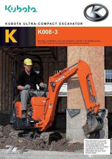 k k008-3 kubota ultra-compact excavator