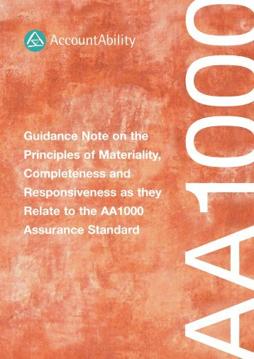 Guidance Note on the Principles of Materiality ... - AccountAbility