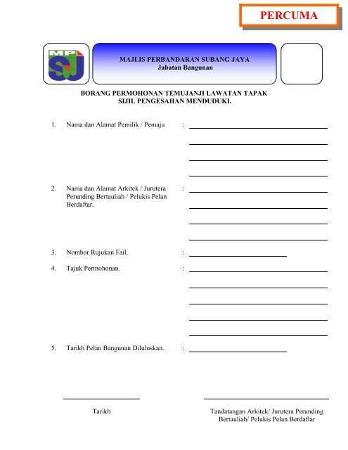 Percuma Mpsj Majlis Perbandaran Subang Jaya
